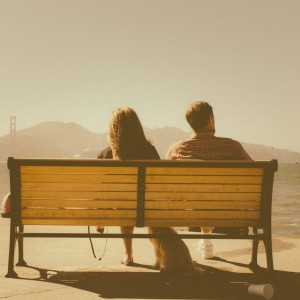 couple on bench circle