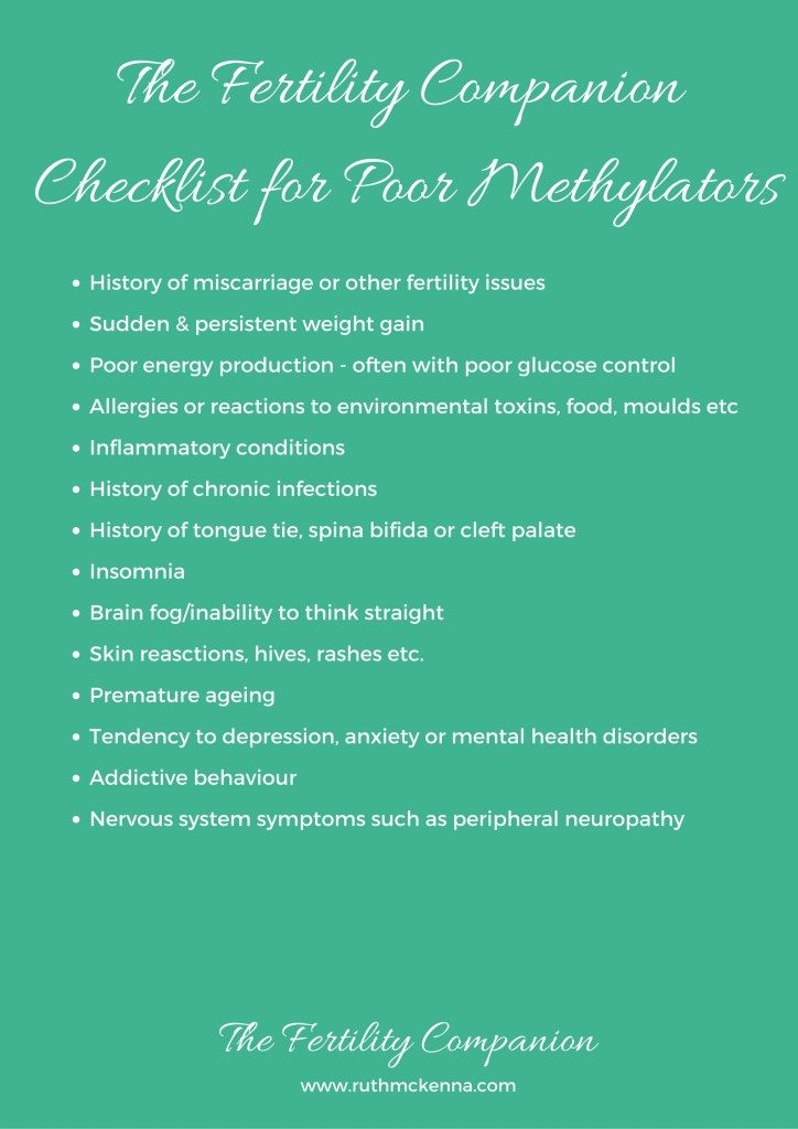 Checklist for Poor Methylators